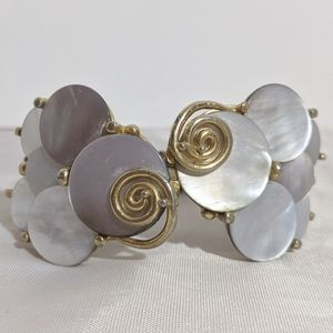 Vintage Gold & Mother of Pearl Clamper Bracelet